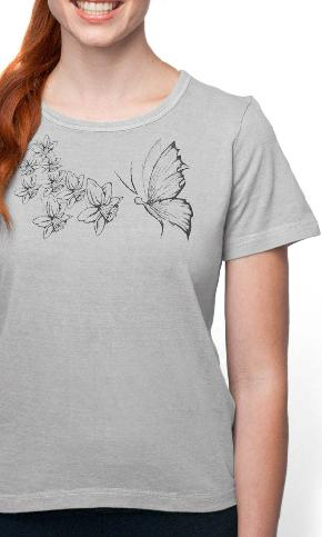 Butterfly Sketch on Ladies Short Sleeve Tee